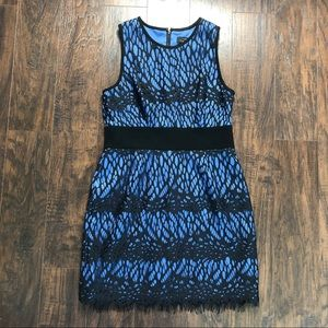 Robert Rodriguez blue dress w/ lace overlay Size 8